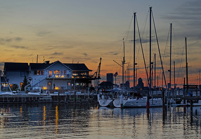 South Shore Yacht Club at Dusk. Lake Michigan, Bayview Milwaukee, Wisconsin