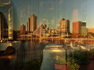 Milwaukee Skyline. Reflection from Harbor House Restaurant.