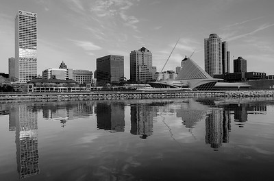 Milwaukee Skyline. Calm early morning on Lake Michigan. Calatrava Art Museum