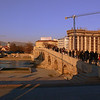 Crowds on the Stone Bridge in Skopje. A lot of Hellenic construction is in evidence around the city center.