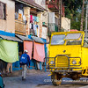 An old 1950's yellow Renault Galion truck as a carbiolet, Haute ville, Antananarivo, Madagascar
