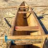 Typical Malagasy wooden fishing boats (piroga) beached, near Manombo, Madagascar