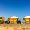 Freshly farmed salt being transported to the factory for purification, Walvis Bay Salt Holdings, Namibia