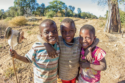 A trio of local children from a remote corner of Gaza Province, Mozambique aren't camera shy.