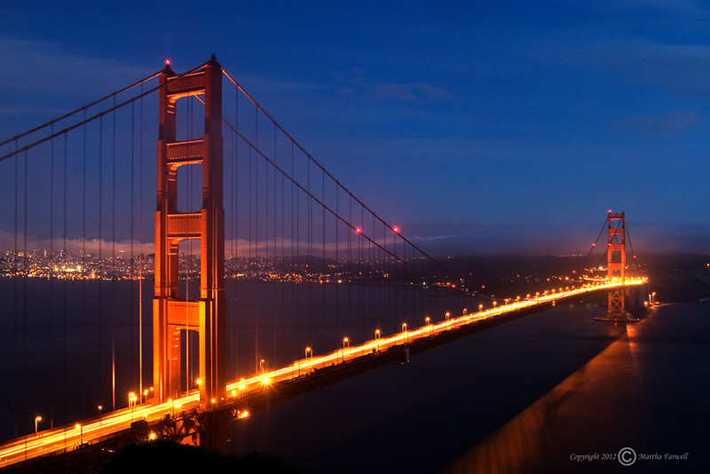 Golden Gate Bridge at Night - San Francisco, California - Marty Farwell - March 2008