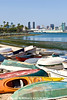 Beached boats on Coronado looking across Mission Bay to downtown San Diego.