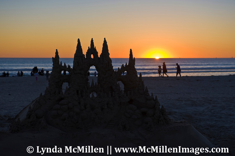 Hotel Del sand castle at sunset.