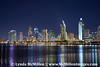 San Diego skyline night lights #1 and Mission Bay from Coronado Island.