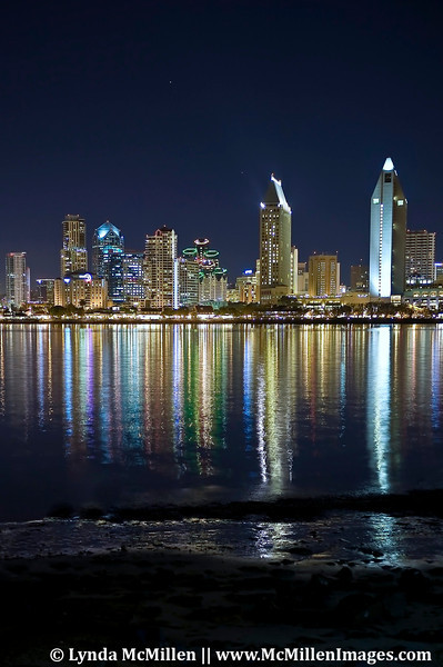 San Diego skyline night lights #2 and Mission Bay from Coronado Island.