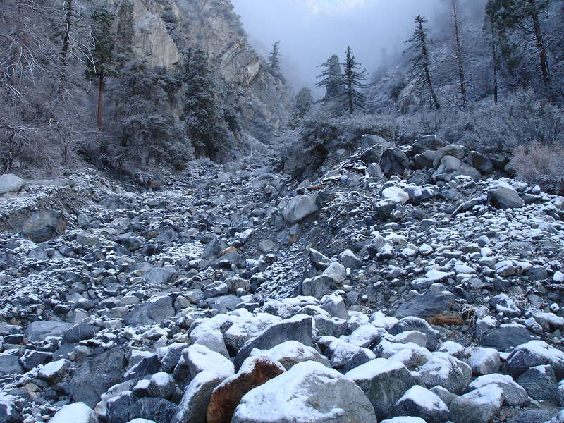 Without vegetation to hold back the torrential rains of 2004 and 2005, the topography of Cucamonga, Day and Deer Canyons was dramatically altered.