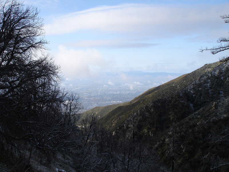 Looking south down Deer Canyon. The valley floor is just visible. Normally Chino Hills and Santiago Peak dominate the southern horizon.