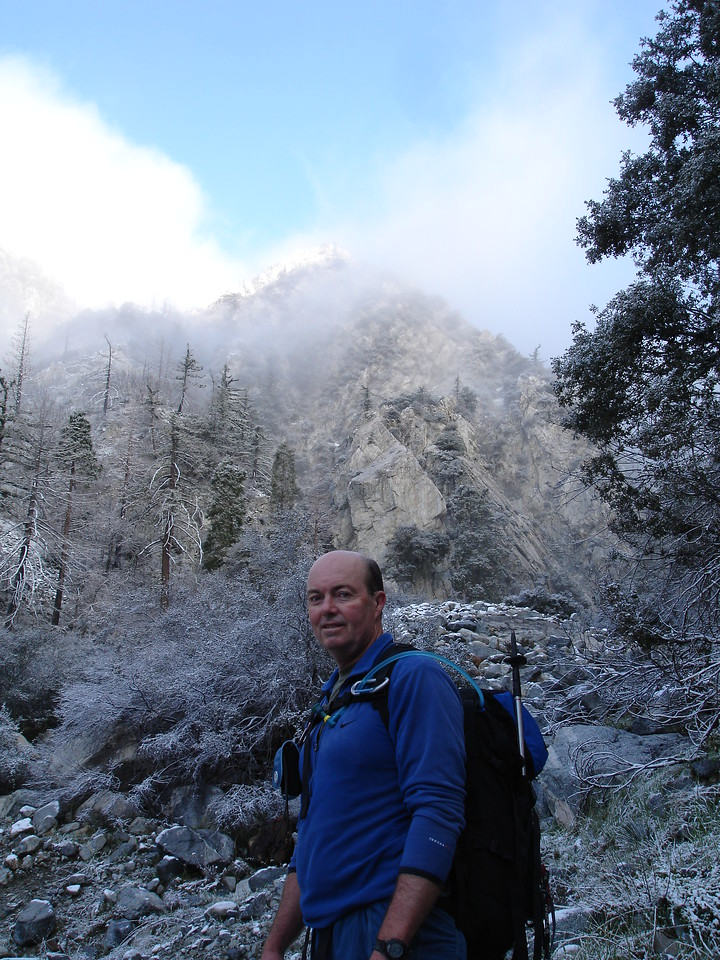 Deer Canyon. Rick posing with a rare window of blue sky.