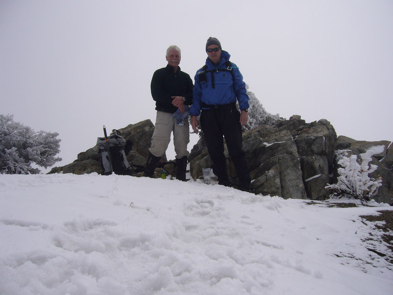 "Rick Graham and Tony Condon on the summit of Cucamonga Peak. Photo by <a href=""http://grahamcracker.myphotoalbum.com/albums.php"" target=""_blank"">Rick Graham</a>."