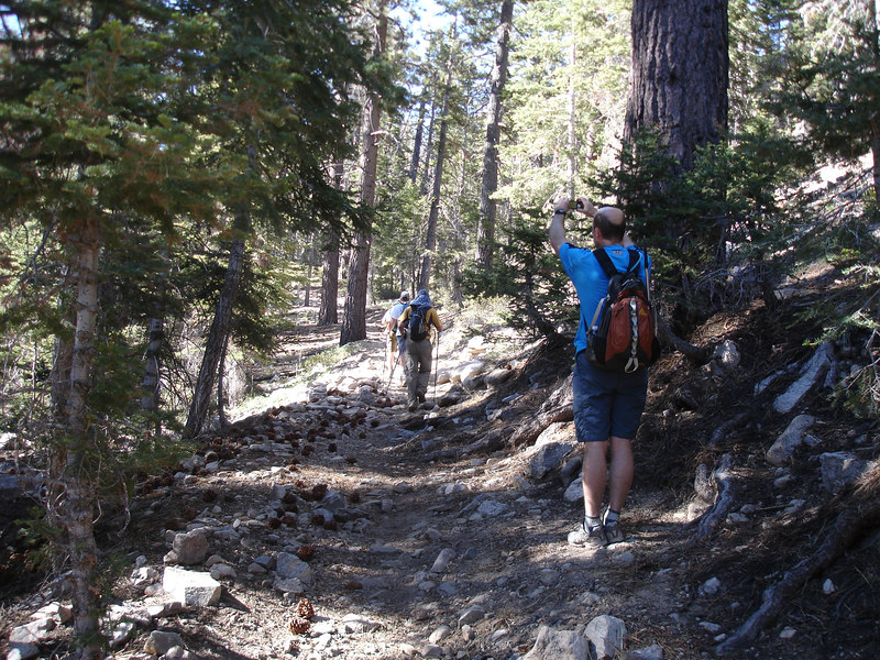 Rick taking a picture of a group that started out ahead of us.<br /> <br /> San Gorgonio Wilderness : South Fork : Dry Lake : San Gorgonio Mountain : Dollar Lake
