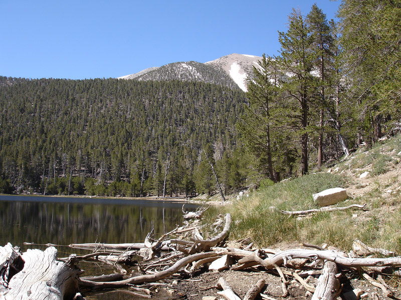 We enjoyed exploring the shoreline of Dry Lake.<br /> <br /> San Gorgonio Wilderness : South Fork : Dry Lake : San Gorgonio Mountain : Dollar Lake