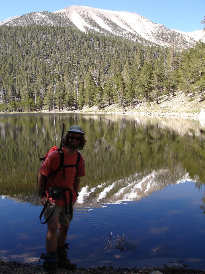 David enjoying the cool shoreline of Dry Lake.<br /> <br /> San Gorgonio Wilderness : South Fork : Dry Lake : San Gorgonio Mountain : Dollar Lake