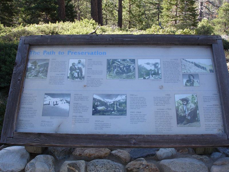 Preserving the wilderness.<br /> <br /> San Gorgonio Wilderness : South Fork : Dry Lake : San Gorgonio Mountain : Dollar Lake
