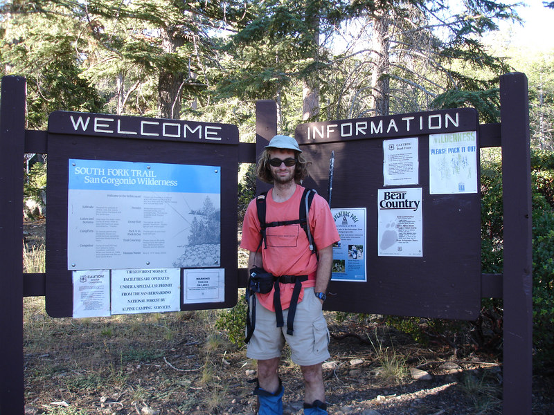 "David ready for lift off. He took notes, gps readings and map references at every land mark along the way. David is the author of the 6th Edition of John W. Robinson's  <em>San Bernardino Mountain Trails</em>, <a href=""http://www.wildernesspress.com/book129.htm"" target=""_blank"">Wilderness Press</a> .  San Gorgonio Wilderness : South Fork : Dry Lake : San Gorgonio Mountain : Dollar Lake"