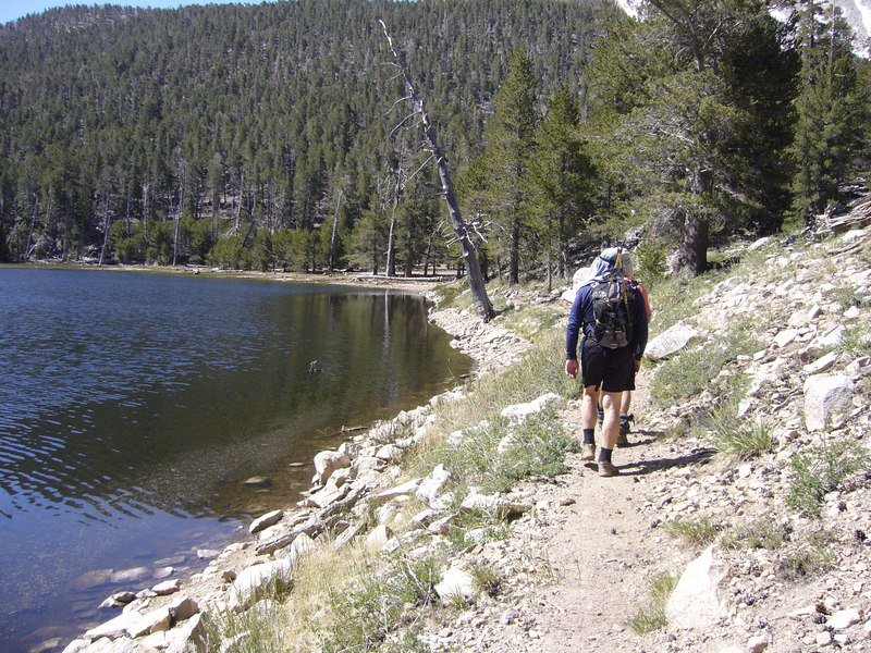 The west shore of Dry Lake, on our way to Trail Flats area  <br /> <br /> San Gorgonio Wilderness : South Fork : Dry Lake : San Gorgonio Mountain : Dollar Lake