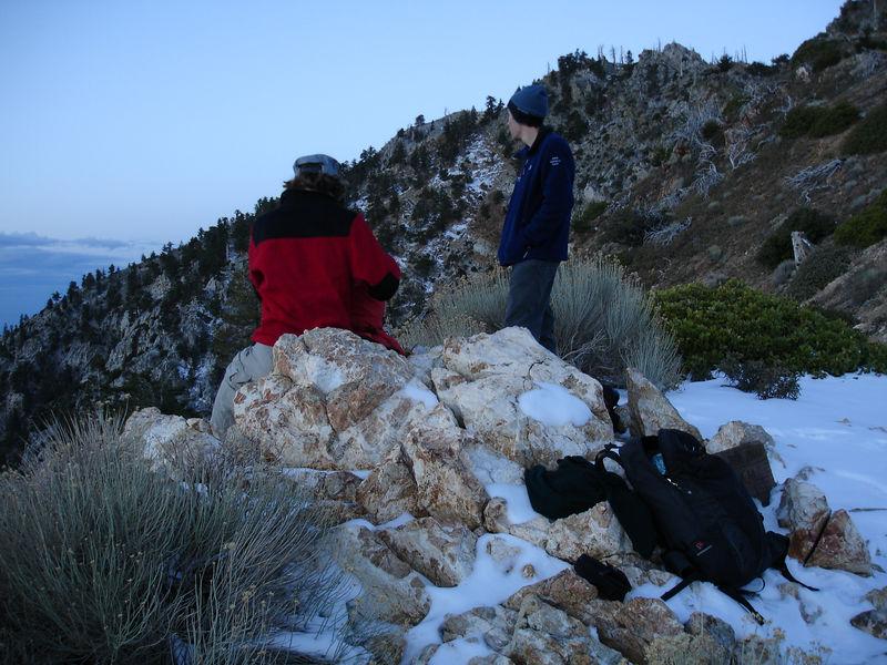 Taking a break before the summit of Ontaria Peak.