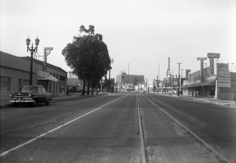 A June 1956 view of the Union Pacific/ Glendale & Montrose right-of-way looking north at Glendale Avenue and Orange Grove Avenue in Glendale.<br /> <br /> Photographer Raymond E Younghans