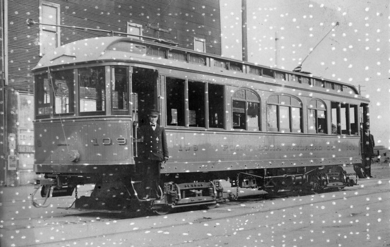 Point Loma Railroad Company 109 on 5th St north of L Street in San Diego circa 1909.  This car was later sold to Pacific Electric and was numbered 417.<br /> <br /> Photgrapher Unknown<br /> Jeffrey Moreau Collection