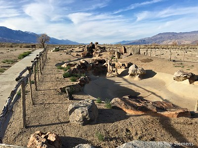Remains of a garden water feature in Manzanar