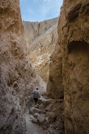 anzaborrego desert state park; california; canyon; desert Jim makes his way out of Table Canyon.