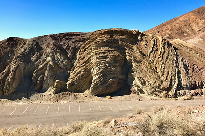 Tortured geologic layers at the Calico overflow parking area