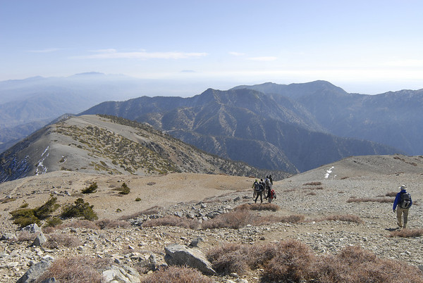 Starting the descent.  Visible in the distance on the skyline is San Gorgonio (left) and San Jacinto (right).
