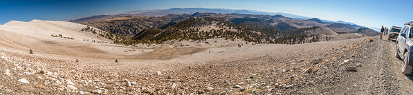 ancient bristlecone pine forest; cottonwood basin; inyo national forest; panoramic; patriarch grove; white mountains Looking down from nearly 12k feet along the White Mountain Road. Below us lie Cottonwood Basin (left), and the Patriarch Grove (center).