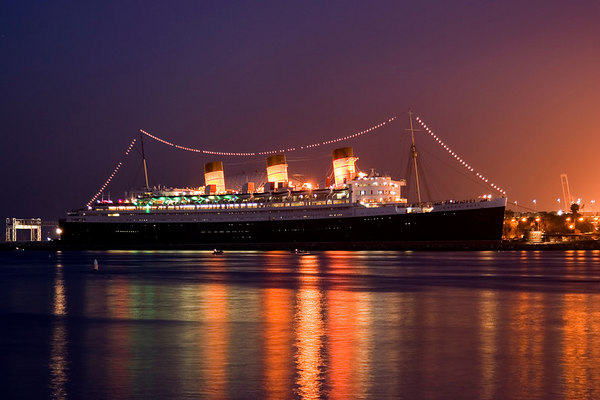 Queen Mary, dusk.