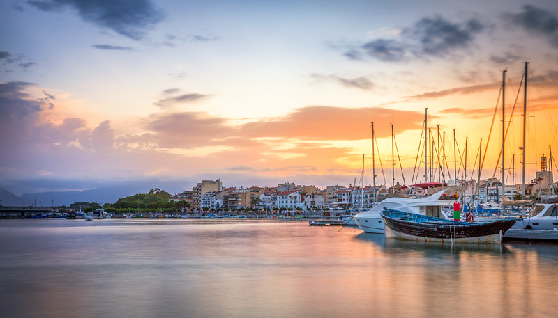 Cambrils port at sunset