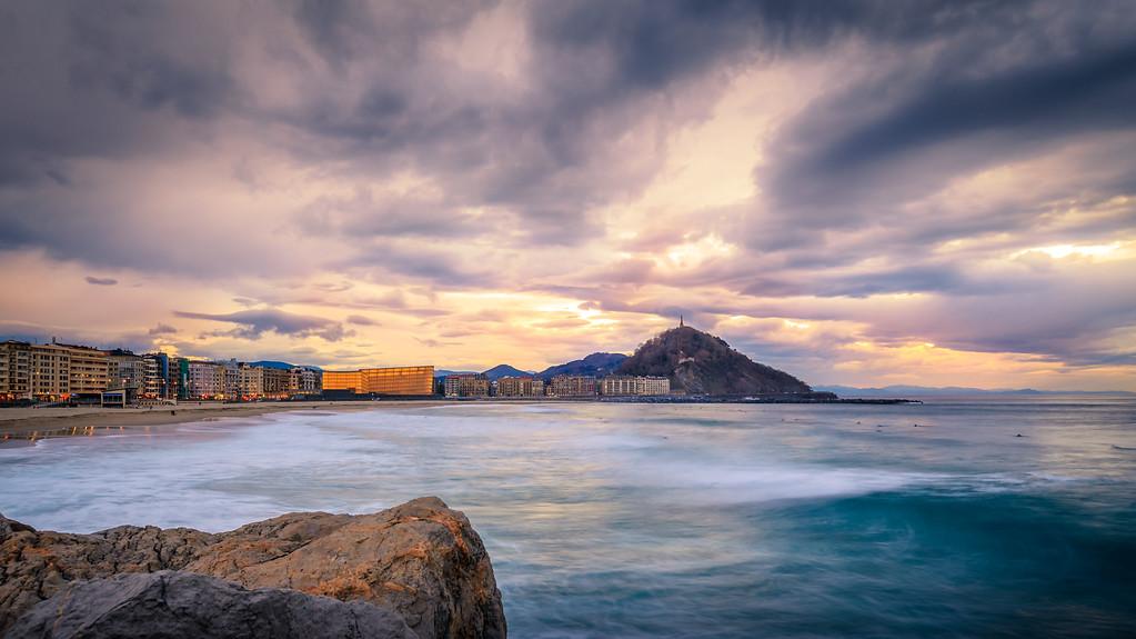 Sunset over zurriola beach