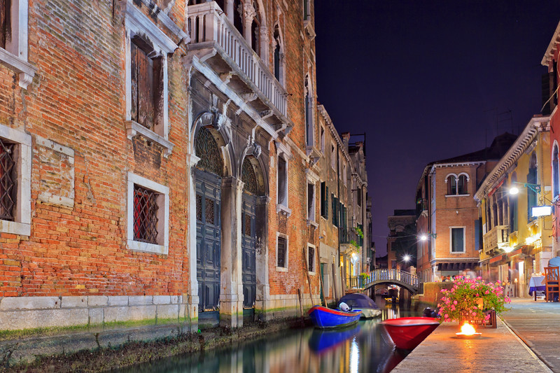 Night view of a Venice canal