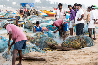 The fishermen work very hard but the catch was small.