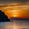 In Italy, a beautiful sunrise over the Amalfi Coast.