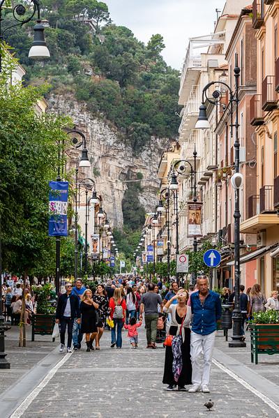 A Sunday afternoon stroll along the Corso Italia, Sorrento's main shopping street.