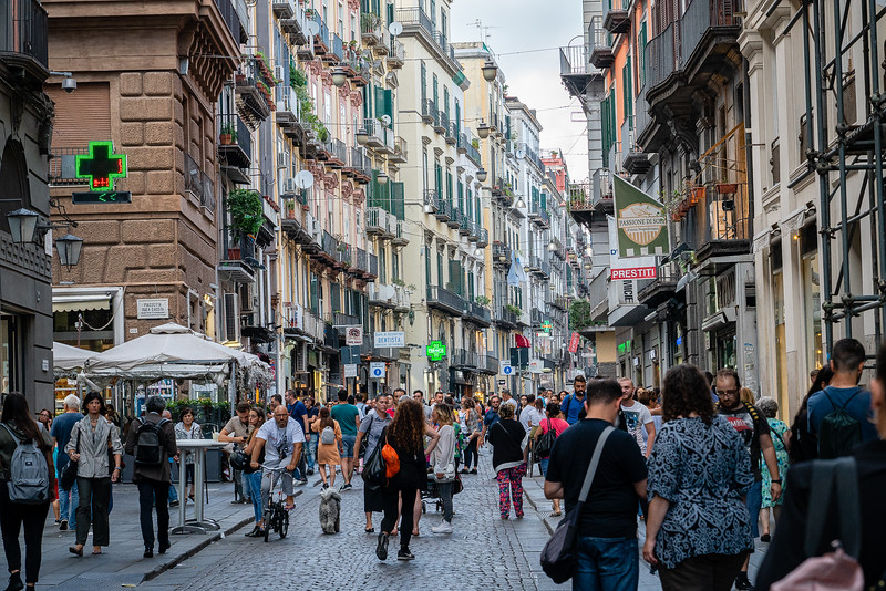 The hustle and bustle of Via Toledo in Naples Italy. This famed Napoli shopping district has a history that dates back to the 1500's.