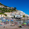 The beach at Amalfi on Italy's Amalfi Coast.