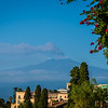 View from Taormina in Sicily of Mt Etna, almost 20 miles away, spewing ash.