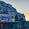 Just after dawn as the sun readies to peek over the horizon at Amalfi on Italy's Amalfi Coast.