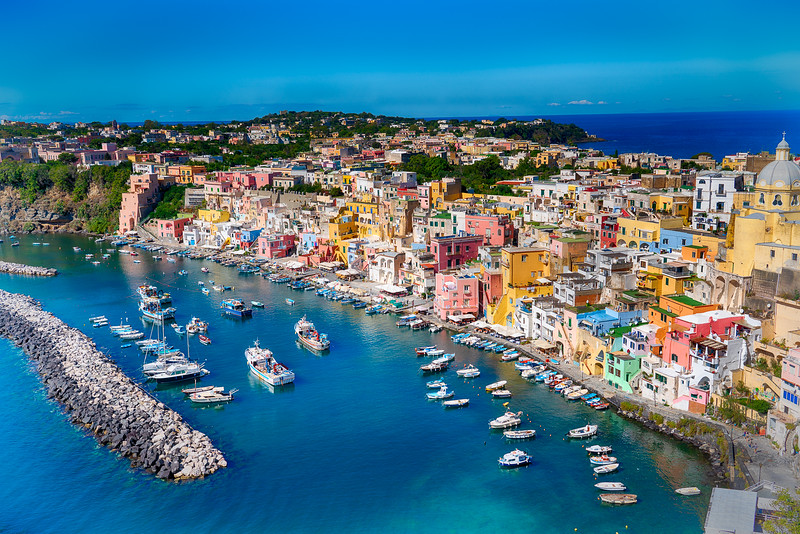 On Procida Island in Italy; a volcanic island in the Bay of Naples.