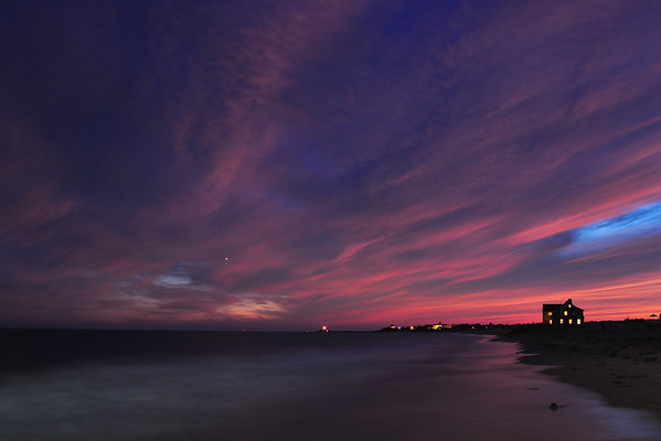 """One Particular Harbor"" – sunset at Misquamicut Beach, Rhode Island, looking west toward Watch Hill."