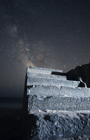 """Stairway to Heaven"" – I'd been planning this shot for a year, and finally I found a night with clear enough skies to walk to this old concrete foundation in a quiet corner of the beach."