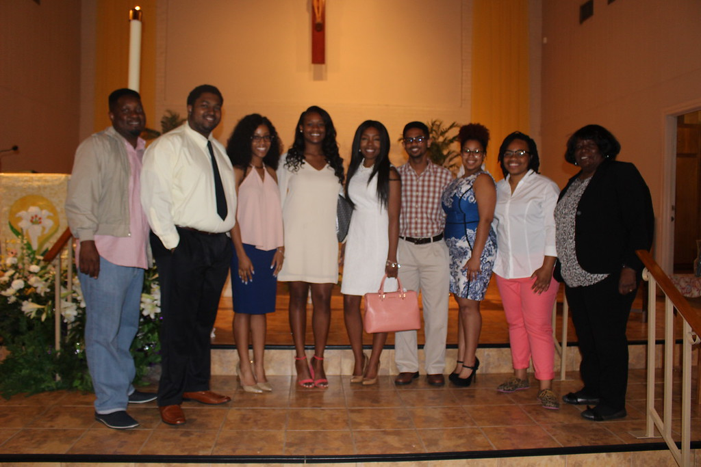 Mr. Ephraim White (Southern University Catholic Campus Minister), (name not available), Amber Randall, Tiara Johnson, Channing Evans, Kristopher Goodly, MacKenzie Louis, Skyler Franklin, Mrs. Joyce M. Johnson (SU Catholic Student Center Director)