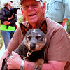 """Don with """"Cassie,"""" whom he rescued 30 miles from nowhere in the middle of the desert. He kept her for the entire trip, and the day after surrendering her to """"Best Friends"""" animal sanctuary in Kanab, Utah, her owner was found!  She was a very sweet australian cattle dog."""