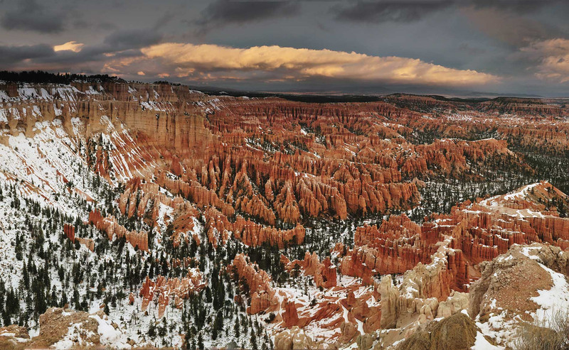 Storm front over The Ampitheatre - Panoramic 4 vertical images - Bryce Canyon National Park, Utah - Doug Beezley - November 2011