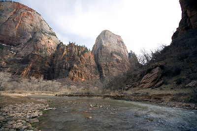 The Great White Throne from the Virgin River.  Zion National Park.  Utah.