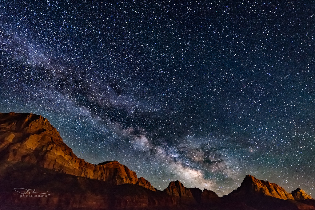 Zion. Milky Way over The Watchman (second peak from right)